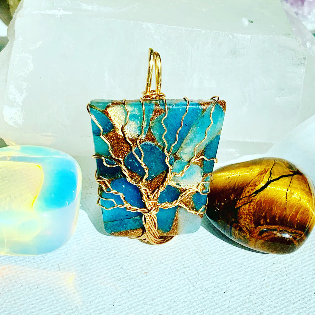 Impression Jasper Tree of Life Necklace