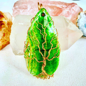Green Agate Tree of Life Necklace