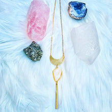 Load image into Gallery viewer, White Aura Quartz Moon Necklace