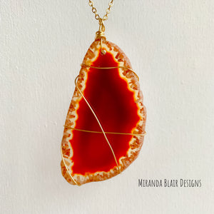Red Agate Wrapped Necklace
