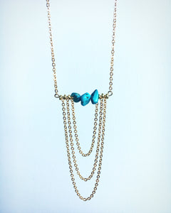 Turquoise Bar Chain Necklace