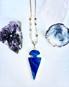 Sodalite and Agate Blue Arrowhead Necklace
