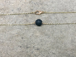 Lava Stone Dainty Gold Necklace