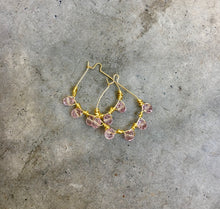 Load image into Gallery viewer, Rose Quartz Wire Wrapped Hoop Earrings