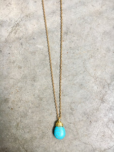 Turquoise Pendent Gold Wrapped Pendent Necklace