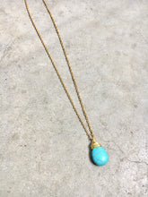 Load image into Gallery viewer, Turquoise Pendent Gold Wrapped Pendent Necklace