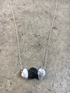 Howlite with Lava Stone Silver Necklace