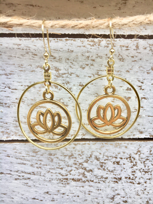 Lotus Flower Hoop Earrings