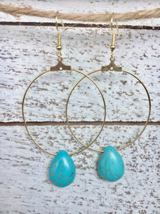 Turquoise Drop Gold Hoops