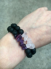 Load image into Gallery viewer, Lava Rock Pink Quartz Bracelet