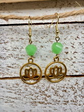 Load image into Gallery viewer, Green Lotus Flower Earrings
