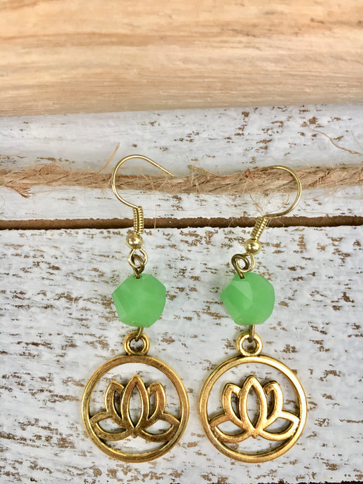 Green Lotus Flower Earrings