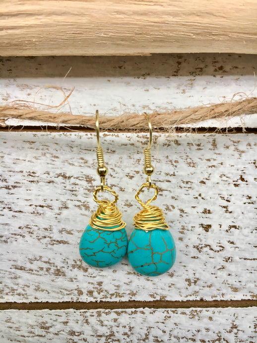 Double Wrapped Turquoise Earrings