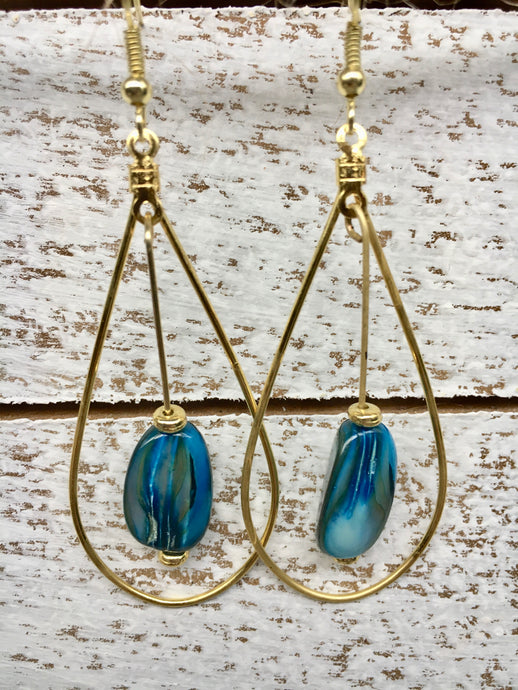 Long Blue Gold Hoop Earrings