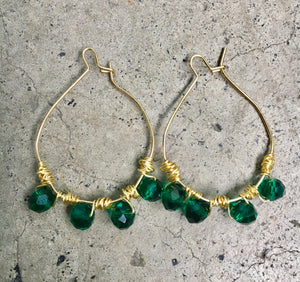 Emerald Wrapped Hoop Earrings