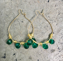 Load image into Gallery viewer, Emerald Wrapped Hoop Earrings