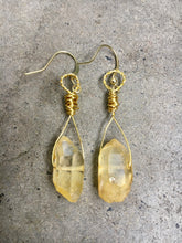 Load image into Gallery viewer, Citrine Stone Gold Earrings