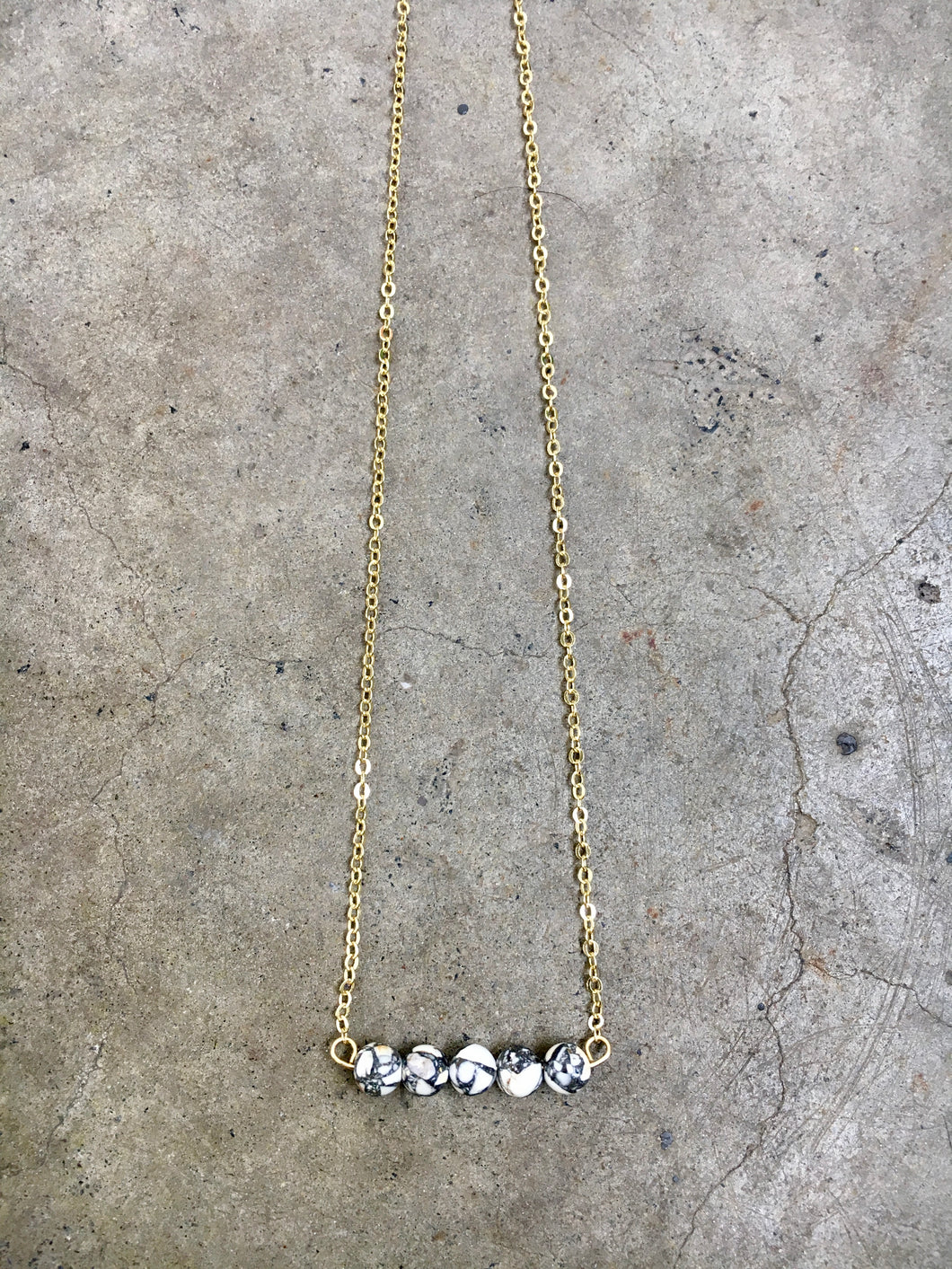 Dalmation Jasper Bar Necklace