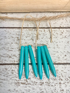 Three Turquoise Hoops Earrings