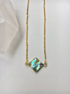 Abalone Square Dainty Necklace