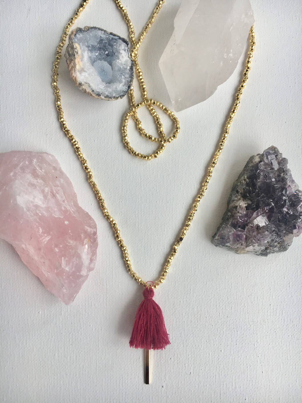 Gold Beaded Tassel Drop Necklace