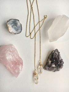 Double Quartz Wrappable Necklace