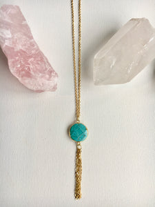 Turquoise Circle Gold Tassel Necklace