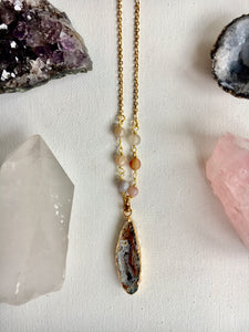 Agate Pendant and Stone Necklace