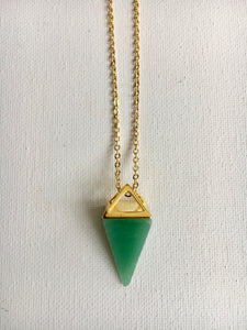 Green Aventurine Triangle Point Necklace