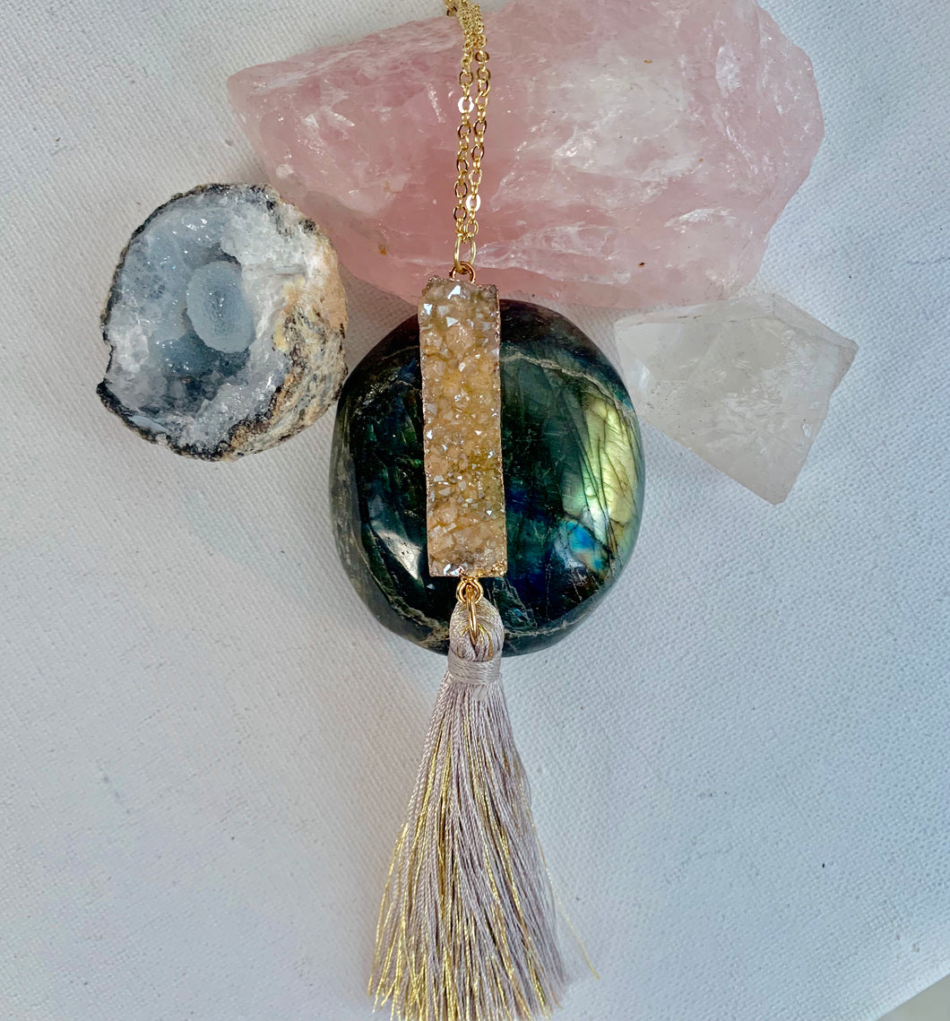 Champagne Quartz Tassel Necklace