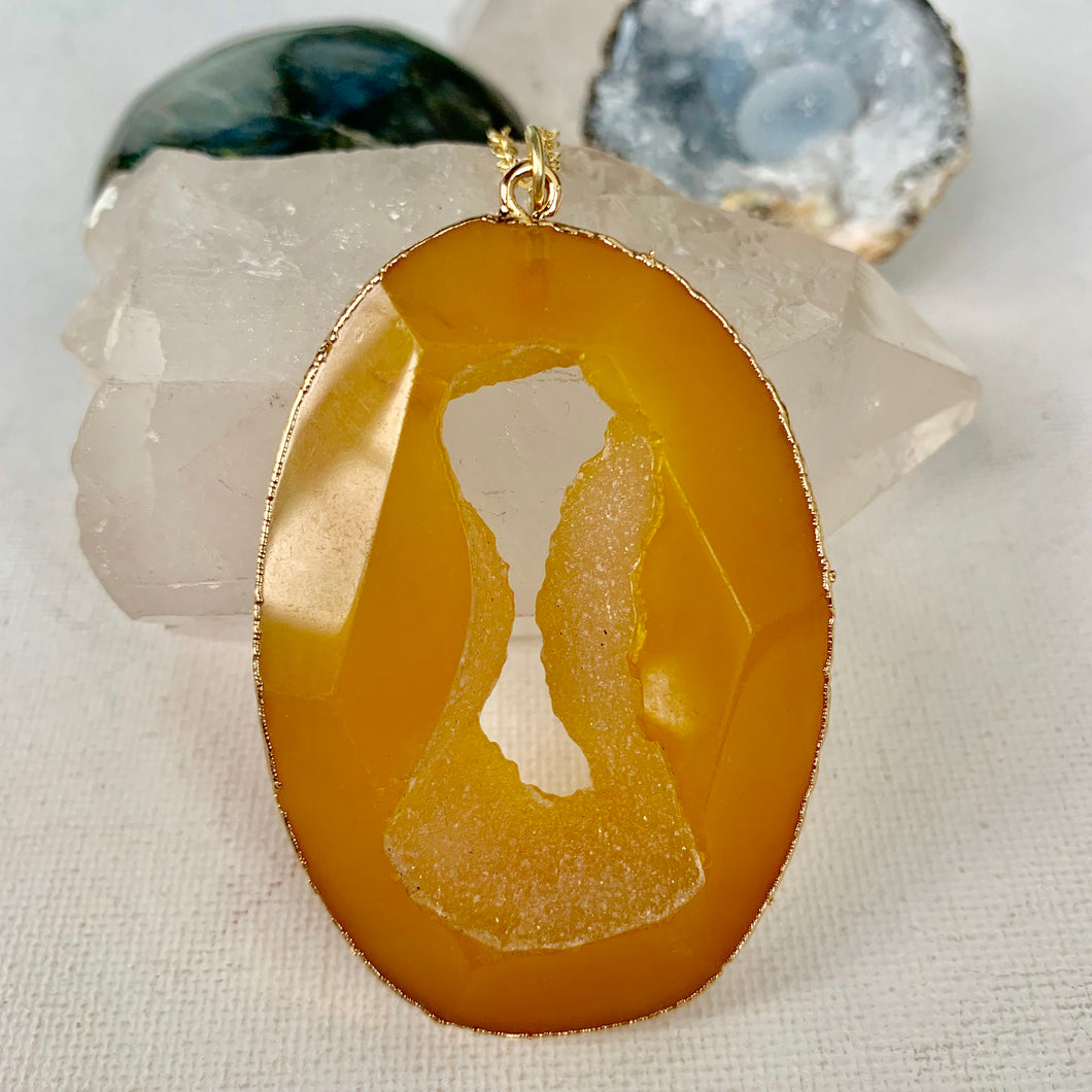 Yellow Agate Geode Necklace