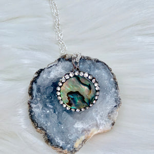 Abalone Stud Circle Necklace