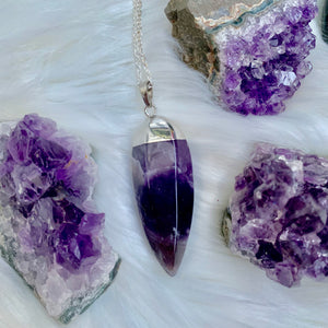 Silver Bulk Amethyst Necklace
