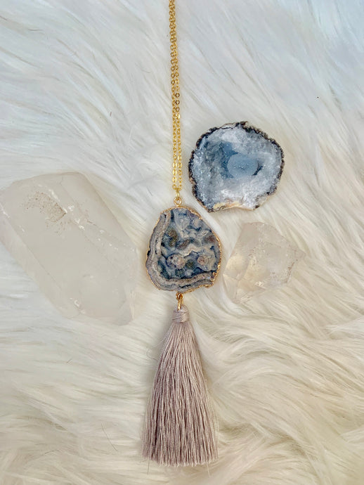 Blue Lace Agate Tassel Necklace