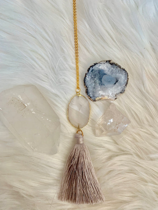 Clear Quartz Tassel Necklace