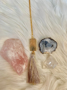 Peach Druzy Tassel Necklace