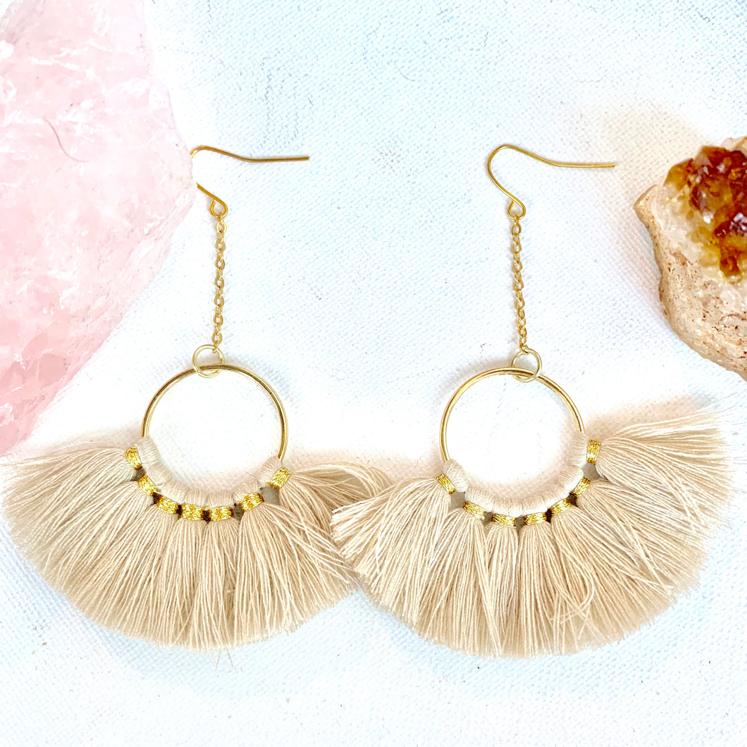 Tan Fan Tassel Earrings