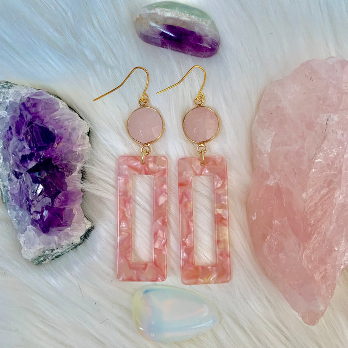 Pink on Rose Quartz Earrings