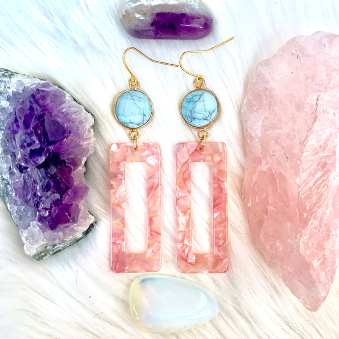 Turquoise Pink Acrylic Earrings