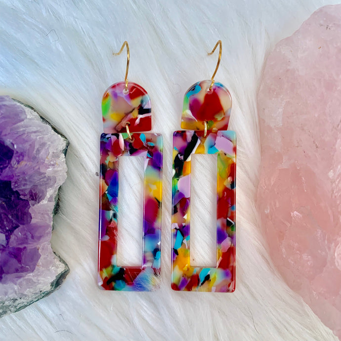 Rainbow Acrylic Earrings