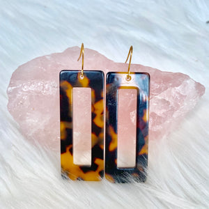 Brown Rectangle Acrylic Earrings