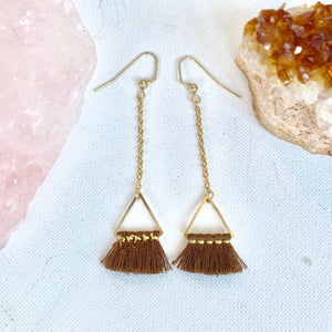 Brown Triangle Tassel Earrings