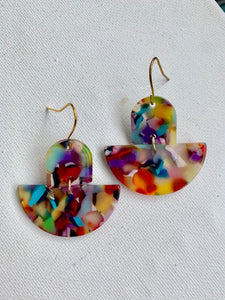 Rainbow Acrylic Dangles Earrings