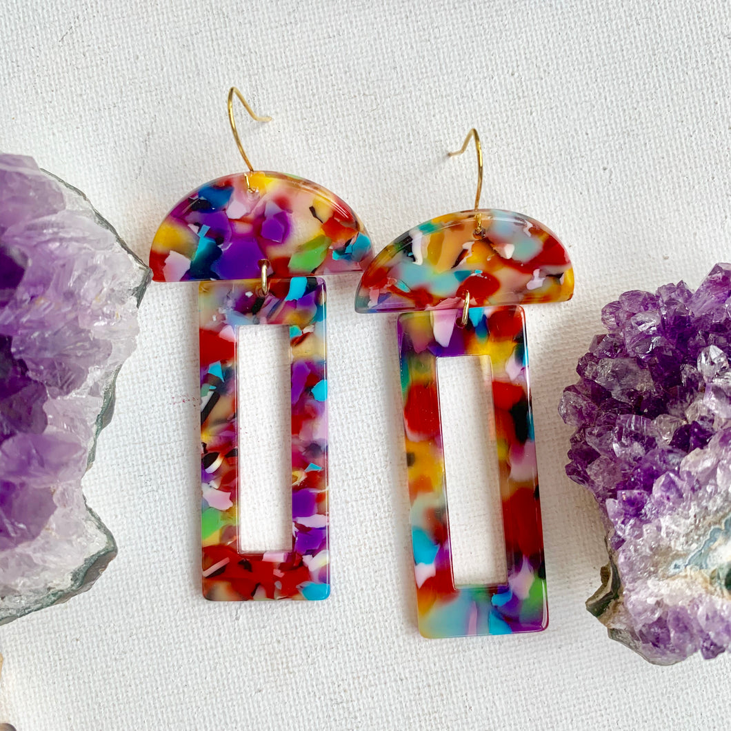 Rainbow Acrylic Geometric Earrings