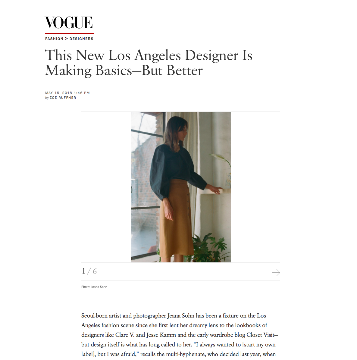Vogue - This New Los Angeles Designer Is Making Basics - But Better