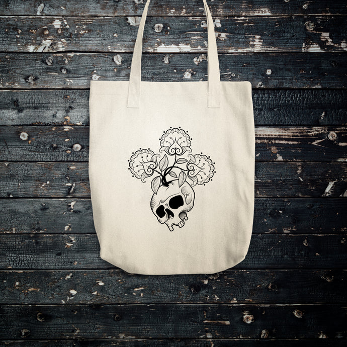 Skull Flowers Cotton Tote Bag