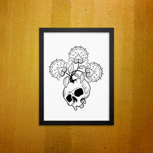 Skull flowers Framed Wall Picture