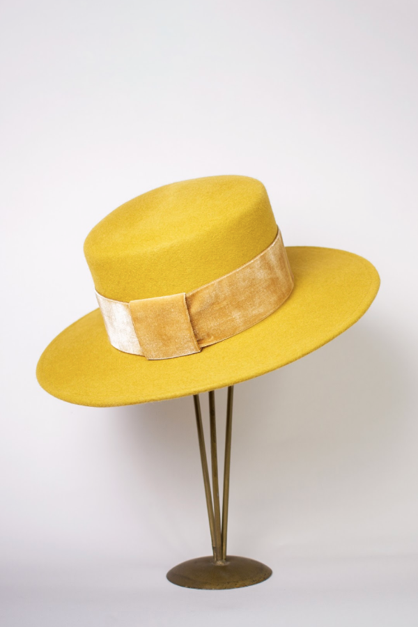 Boater Hat with Velvet Band-Vienna Gold