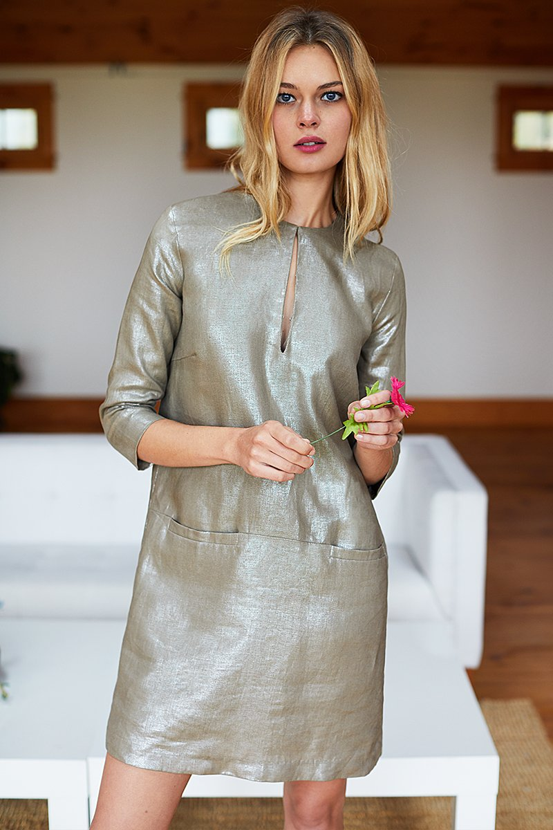 fa8fa7e0c70 Emerson Fry Mod Dress in Metallic Linen – FLOC5   CO.