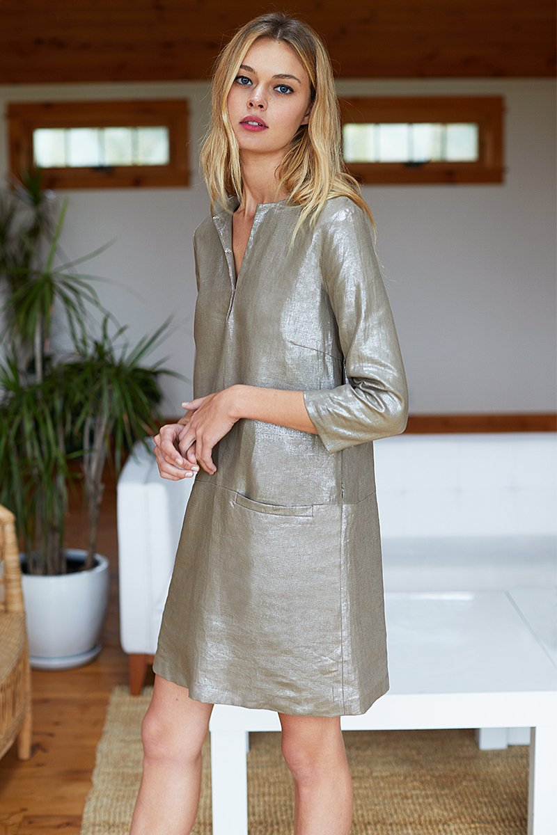Mod Dress in Metallic Linen